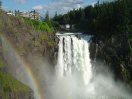 DNR geologists discovered that the spectacular Snoqualmie Falls flow over the remains of a newly identified 20-million-year-old volcano. Photo: Croft