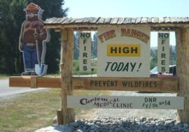 A fire-danger sign in Curlew (north east Washington) tells a familiar story during fire season. Photo: DNR/John Foster