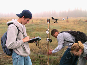 Students from North Central High School in Spokane measuring climate variables (humidity, temp, barometric pressure) in the three distinct habitat zones of Pinecroft NAP. Photo: DNR