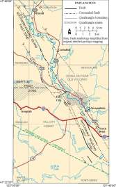 Quadrangle map shows Seattle fault zone intersecting with southern Whidbey Island fault just north of Fall City. Source: DNR