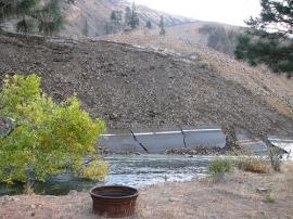 Hwy 410 pushed aside by landslide. Photo: WDOT
