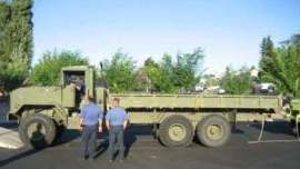 Before: A truck obtained by Douglas County Fire District No. 2 through a DNR-managed program showed its military origins when first delivered