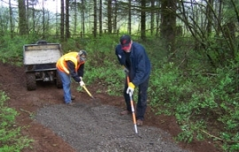 Volunteers work on trails in the Jones Creek Off-road Trail System in the Yacolt Burn State Forest.