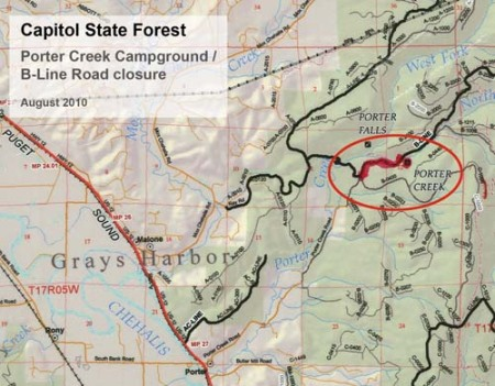 Map of closure for Porter Creek Campground and B-Line roads in Capitol Forest