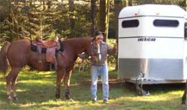 Horse and owner at Tahuya River Horse Camp