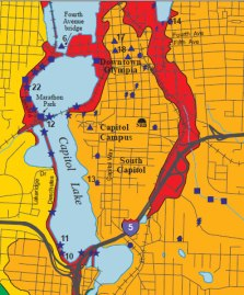 liquefaction risk map of downtown Olympia