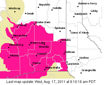 Red Flag Warning Areas Aug 17 2011
