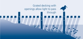 Grated decking allows light to reach sensitive seagrass habitat. Illustration: Luis Prado/DNR