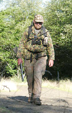 Muzzleloader hunter prepares for a day's outing.