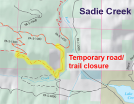 Sadie Creek temporary closure