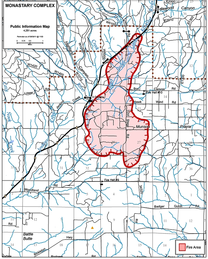Spokane Wildfire Map.Dnr Wildfire Update 9 9 2011 Fire Perimeter Map Shows 4 200 Acres