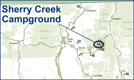 Map showing location of Sherry Creek in Eastern Washington