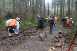Volunteers at Jones Creek. Winter 2011