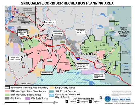 Map of the Snoqualmie Corridor Recreation planning area.
