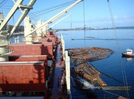 The Koombana Bay loads logs at Port Angeles