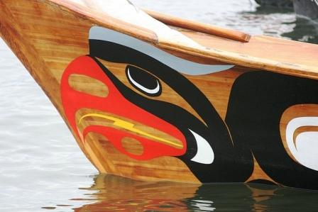 Prow of traditional NW tribal canoe