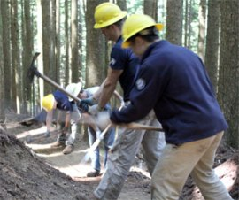 Volunteers working on the East Tiger Summit Trail in Tiger Mountain