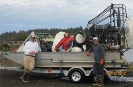 WA DNR Spartina crews with marine debris. Oct. 18, 2012