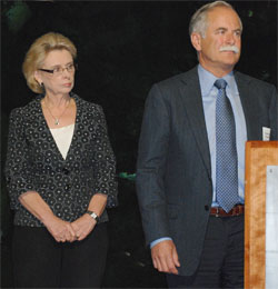 Gov. Chris Gregoire and Commissioner of Public Lands Peter Goldmark at Ocean Acidification Panel press event 11-27-12