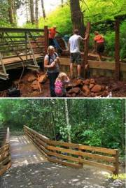 Recycled materials for bridge railings