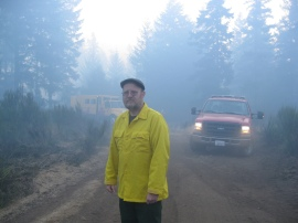 George Ormrod, DNR Employee, near the Shelton Powerline Fire 2012