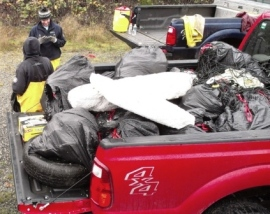 Several pickup truck loads of plastic foam and other refuse were removed from beach at Maury Island. Photo: DNR/WCC.