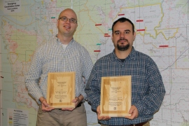 Glenn Kohler, forest entomologist, and  Aleksandar Dozic, forestry technician, receive the Regional Forester's 2012 Team Award for Excellence in Safety and Health