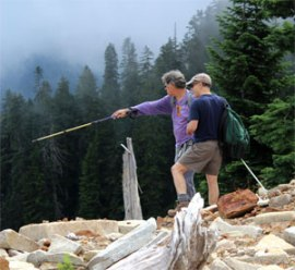 Members from the Snoqualmie Corrdior Planning Committee explore the landscape. Photo: Laura Cooper, DNR.