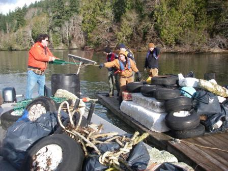 Puget SoundCorps/WCC crews worked with Rock Point Oyster Co. staff to clean up the DNR Natural Area at Dabob Bay recently. Photo: Deborah Nemens/DNR.