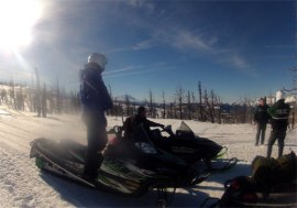 Snowmobiler heads out on the Ahtanum Winter Trails during January's Winter Recreation Event. Photo: Ken Dean, DNR.