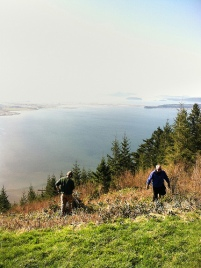 Volunteers clean up a paragliding launch site at Samish Overlook. Photo: Rick Foster, DNR.