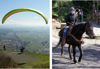 Equestrian riders and paragliders come together to volunteer at Samish Overlook. Photos: Rick Foster, DNR.