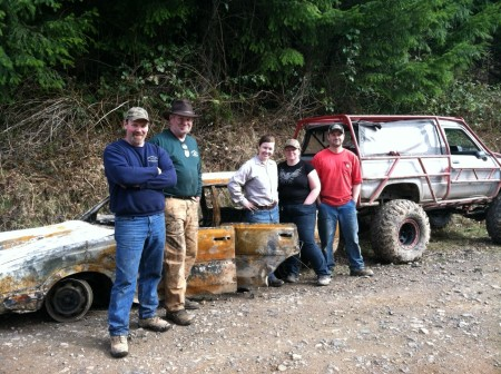 Special thanks to the volunteers who helped remove abandoned and burnt cars in Walker Valley. From left to right: Kevin Vanderhorst, Jim Paget, Alexis Kodoskey, Anneliese Muller, and Kyle Farrar. Photo: DNR