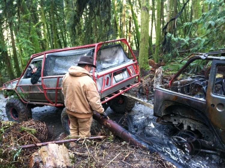 Jim helps remove scorched vehicle at Walker Valley ORV
