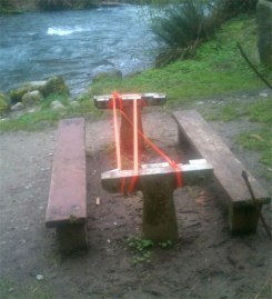 The Lyre River Campground is closed after vandals stole $800 worth of wood from picnic tables. Photo: Wayne Fitzwater, DNR.