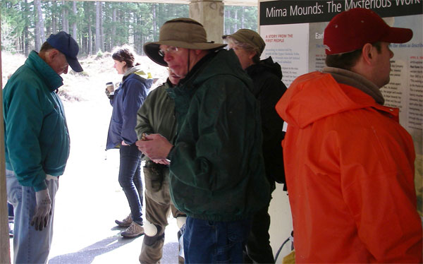 Volunteers break at mima Mounds interpretive center