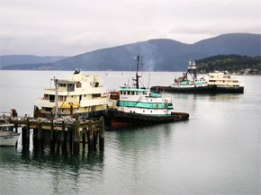 Photo of tugboats getting vessels ready for towing.