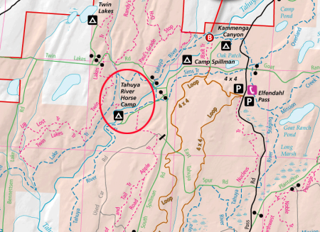 Map of portion of Tahuya State Forest, w/circle drawn around Tahuya River Horse Camp