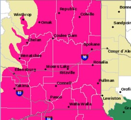 Red Flag Warning in parts of Eastern Washington