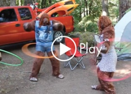 A family of Sasquatch enjoy camping with hula hoops after purchasing their Discover Pass.