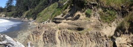 Angular unconformity in rocks