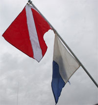 Photo of dive flags.