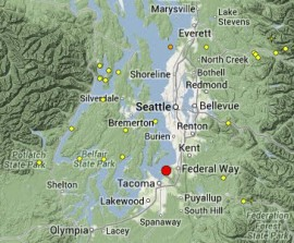 Map of earthquakes in the last two weeks in western Washington.