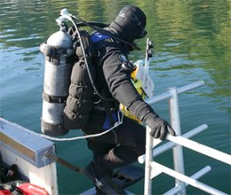 Photo of diver about to jump in water.