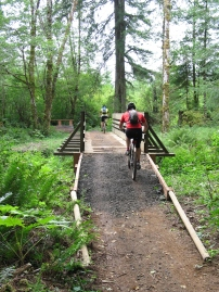 Take an afternoon and ride Capitol State Forest's outdoor gym. Photo by: DNR
