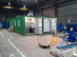 This pyrolysis unit is set up in a container as a mobile module that allows the unit to be used in different locations.