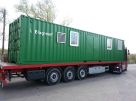 A mobile pyrolysis unit is prepared to move to any location to create biomass into bio-fuel.