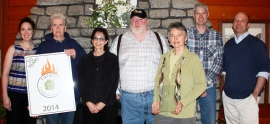 Pictured are (from left to right): Christine Jensen, Jane Potter, Lindy Friedlander, Jeff Madden, Barbara Powrie, Matt Rourke, and John Taylor