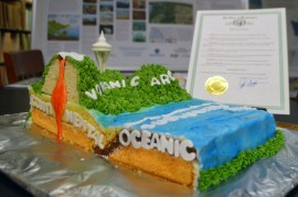 "A tasty ""Earth-cake"" made by DNR geology staff shows the subduction zone off Washington's Pacific coast. Photo: DNR"