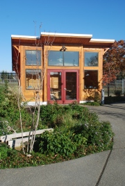 This is a new outdoor classroom called the Naturalist Cabin at Hands On Children's Museum